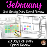 February Math Spiral Review: Daily Math for 3rd Grade (Print and Go)
