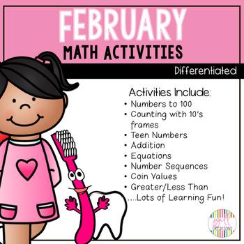 Kindergarten Math Activities (Valentines and Dental Health themes)