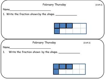 February Math Warm-Ups- Third Grade Common Core Aligned