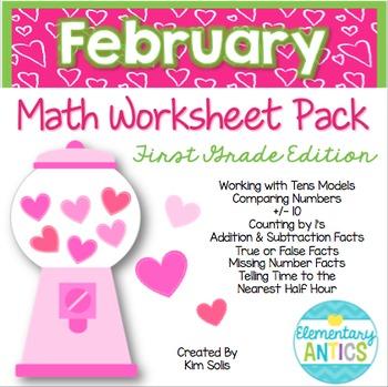 February Math Worksheet Pack {1st Grade}