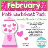 February Math Worksheet Pack {1st Grade}