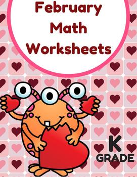 February Math Worksheets & Centers for Kindergarten (English)