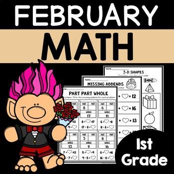 February Math Worksheets for 1st Grade