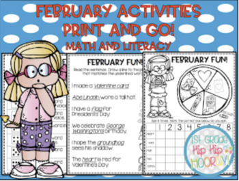 February Math and Literacy Activities...Print and Go!