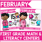 February Math and Literacy Centers for First Grade