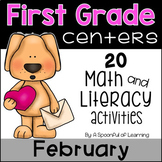 February Math and Literacy Centers - First Grade