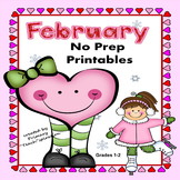 February Math and Literacy NO PREP Winter Printables for Common Core Skills