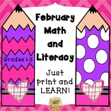 Valentine's Day - February Math and Literacy Packet - No Prep Printables!