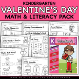 February Math and Literacy Pack (Valentine's Day) - NO PREP