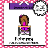February Math and Literacy Printables and Activities For First Grade