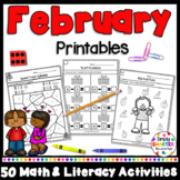 February Math and Literacy Printables and Activities For K