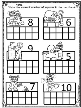 February Math and Literacy Worksheets for Kindergarten