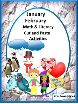 January February Bundles Math Literacy Cut Paste Activities P-K,K, Special Ed