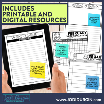 February Mega-Writing Packet {Task Card Prompts, Posters, & Writing Process}