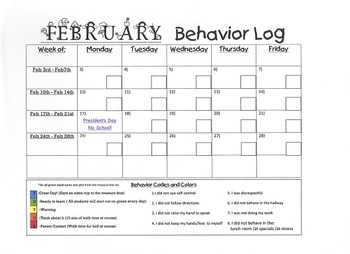 February Monthly Behavior Log 2014
