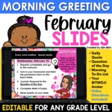 February Morning Message Slides Bitmoji | Writing Prompts