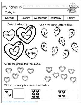 February Morning Work Kindergarten