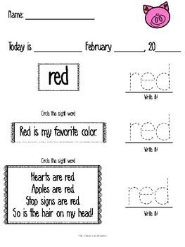 February Morning Work  Pre-Primer Sight Words