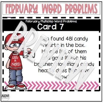 Multistep Word Problems {February Themed}