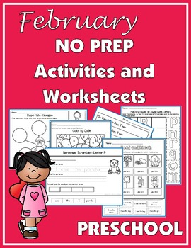 February NO PREP Activities and Worksheets for Preschool