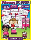 February NO PREP - Math & Literacy (Pre-K)