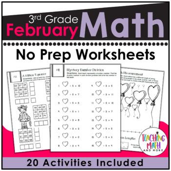 February NO PREP Math Packet - 3rd Grade