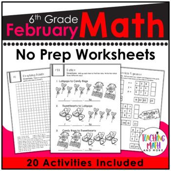 February NO PREP Math Packet - 6th Grade