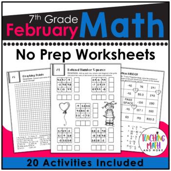 February NO PREP Math Packet - 7th Grade