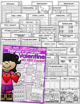February NO PREP Math and Literacy (2nd Grade)