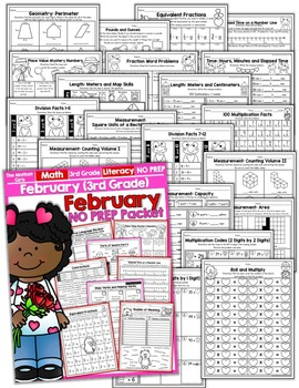 February NO PREP Math and Literacy (3rd Grade)