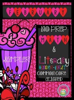 February NO PREP Math and Literacy SAMPLER