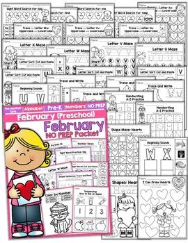 February NO PREP Packet (Preschool)