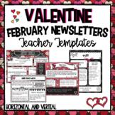 February Teacher Newsletter Templates- Editable | Valentine Newsletters