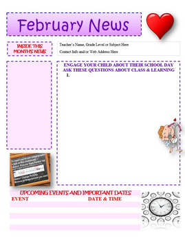 February Newsletter Editable Template