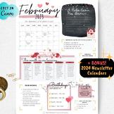 February Newsletter, Valentine's Day Newsletter, EDITABLE Classroom Newsletter
