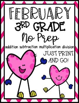 February 3rd Grade Math No Prep Print and Go