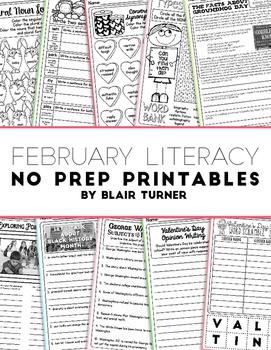 February NO PREP Literacy Printables