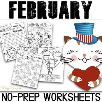 February No Prep Literacy Activities