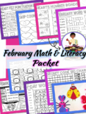 February Math and Literacy (1st grade) Valentines Day Craft (Early Finishers)