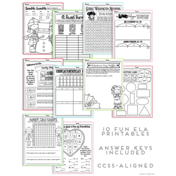 February NO PREP Printables: Math and Literacy BUNDLE