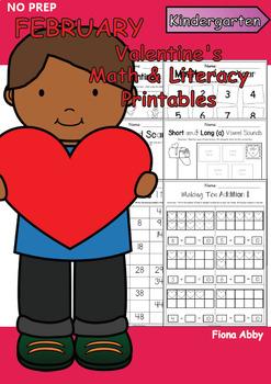 February No Prep Printables for Kindergarten