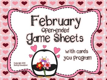 February Open-Ended Game Sheets