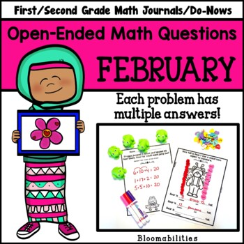 February Open-Ended Math Questions for Journals or Do-Nows (First Grade)