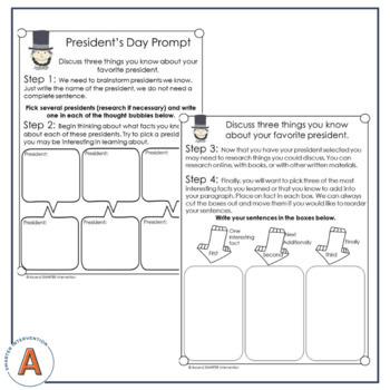 February Paragraph Writing - Graphic Organization Strategies