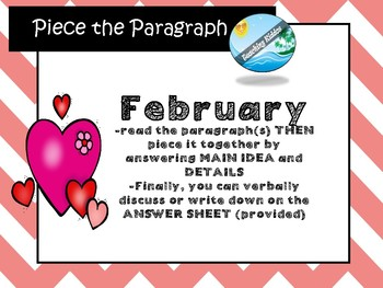 February Passage - MAIN IDEA for Chinese New Year , Groundhog Day,