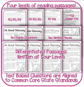 February Passages w/ CCSS Text Based Questions Close Reading Weekly Homework