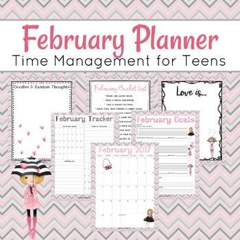 February Planner and Journal for Teens