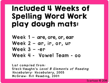 February Play Dough Spelling Words