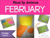 February Mixed Up Sentences - Reading, Writing, and Sentence Building Activities