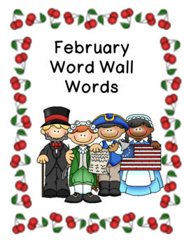 February Pocket Chart Words Word Wall